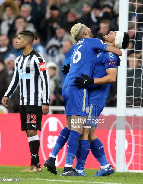 Riyadh Mahrez and Shinji Okazaki of Leicester celebrate after an own by Ayoze Perez of Newcastle United to make it 31 during the Premier League match...