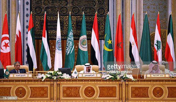 Arab League Secretary General Amr Mussa Saudi King Abdullah bin Abdul Aziz and Saudi Foreign Minister Prince Saud alFaisal attend the closing session...