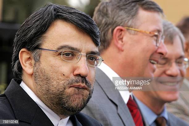 Iran's Ambassador in Saudi Arabia Seyed Mohammad Hosseini and US Ambassador in Saudi Arabia James Oberwetter attend the reopening of the Iraqi...