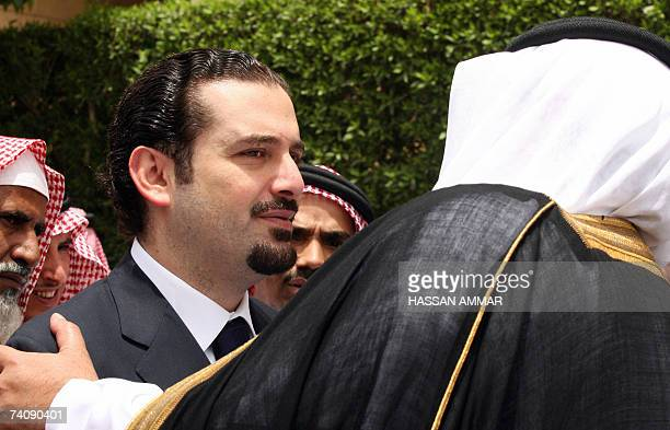 Lebanese parliamentary majority leader Saad Hariri son of assassinated former premier Rafiq Hariri arrives to the funeral of the late governor of the...