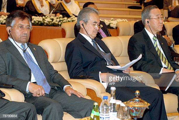 Pakistani President Pervez Musharaf Malaysian Premier Abdullah Ahmad Badawi and UN Secretary General Ban Kimoon attending the opening of a twoday...