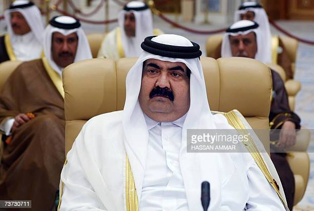 Qatar's Emir Sheikh Hamad bin Khalifa al-Thani and his delegation attend the opening session of a two-day summit in the Saudi capital Riyadh, 28...