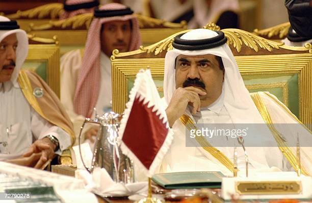 Qatar's Emir Sheikh Hamad bin Khalifa al-Thani attends the second and final day of the Gulf Cooperation Council summit in Riyadh 10 December 2006....