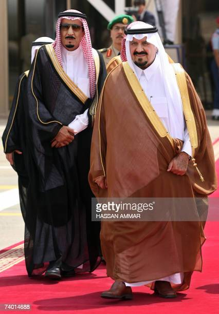 Saudi Crown Prince Sultan bin Abdulaziz alSaud and Riyadh Governor Prince Salman bin Abdul Aziz wait at Riyadh international airport 28 April 2007...