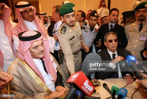 Saudi Foreign Minister Prince Saud alFaisal and Arab League Secretary General Amr Mussa speak to the media at the press centre in Marriot Hotel in...