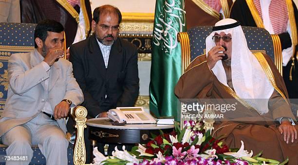 Saudi King Abdullah bin Abdul Aziz and Iranian President Mahmoud Ahmadinejad drink Arabic coffee during their meeting in Riyadh 03 March 2007...
