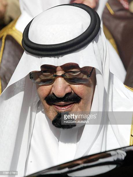 This 02 May 2005 file photo shows Saudi King Abdullah attending the funeral of his halfbrother the late King Fahd at the Imam Turki bin Abdullah...
