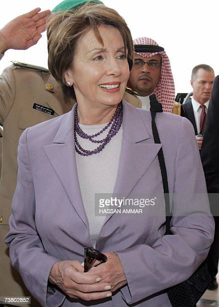 US House Speaker Nancy Pelosi arrives at Riyadh airport 04 April 2007 Travelling from Syria and a meeting with Syrian President Bashar alAssad Pelosi...