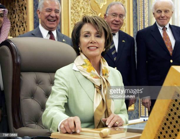 US House speaker Nancy Pelosi sits on the chair of Saleh bin Abdullah bin Hamid the Saudi Shura Council Chairman in Riyadh 05 April 2007 Pelosi...