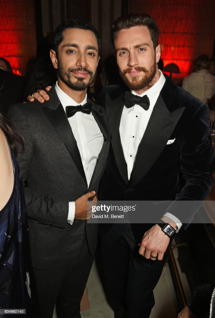 Riz Ahmed (L) and Aaron Taylor-Johnson attend The Weinstein Company, Entertainment Film Distributors, Studiocanal 2017 BAFTA After Party in partnership with Ben Sherman, Kat Florence & Grey Goose at Rosewood London on February 12, 2017 in London, England.