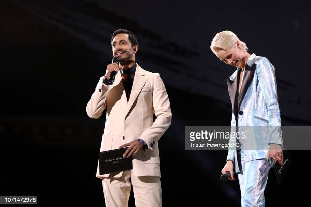 Riz Ahmed and Edie Campbell present Accessories Designer Of The Year during The Fashion Awards 2018 In Partnership With Swarovski at Royal Albert...