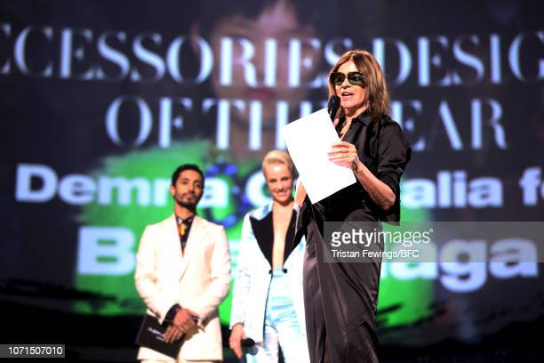 Riz Ahmed and Edie Campbell present Carine Roitfeld with Accessories Designer Of The Year award who is accepting on behalf of Demna Gvasalia for...