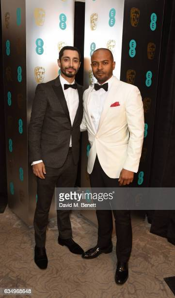 Riz Ahmed and Noel Clarke attend the official After Party Dinner for the EE British Academy Film Awards at Grosvenor House on February 12 2017 in...