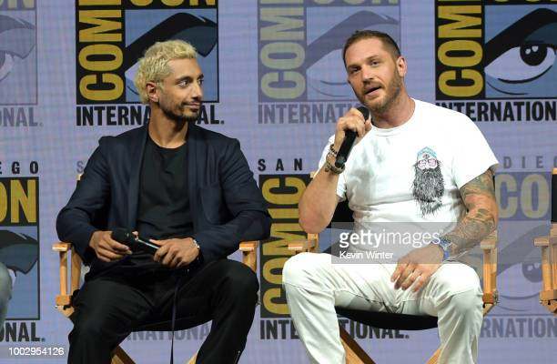 Riz Ahmed and Tom Hardy speak onstage at the Sony Pictures' panel during ComicCon International 2018 at San Diego Convention Center on July 20 2018...