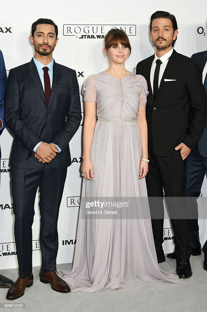 Riz Ahmed, Felicity Jones and Diego Luna attend a fan screening of 'Rogue One: A Star Wars Story' at the BFI IMAX on December 13, 2016 in London, England.