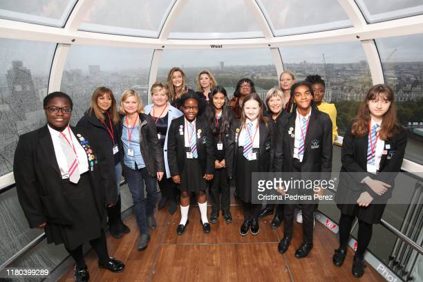 Riz Lateef Justine Greening Emily Thornberry Natasha McElhone Penny Mordaunt Diane Abbott Siân Berry Jude Kelly and Clara Amfo with a group of...