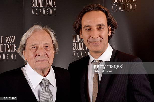 Riz Ortolani and Alexandre Desplat poses for a picture at the World Soundtrack Awards on October 19 2013 in Ghent Belgium
