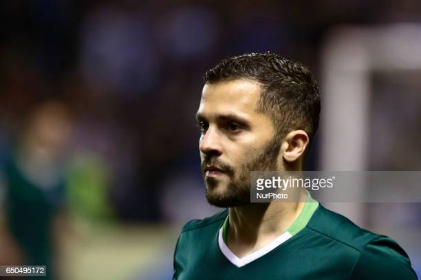 Riza Durmisi defender of Real Betis Balompie during the La Liga Santander match between Deportivo de La Coruña and Real Betis Balompie at Riazor...
