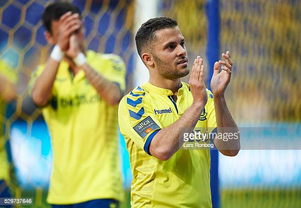 Riza Durmisi of Brondby IF $cela the Danish Alka Superliga match between Brondby IF and FC Nordsjalland at Brondby Stadion on May 9 2016 in Brondby...