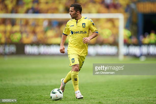 Riza Durmisi of Brondby IF controls the ball during the Danish Alka Superliga match between Brondby IF and SonderjyskE at Brondby Stadion on May 29...