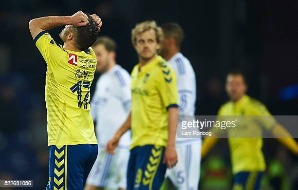 Riza Durmisi of Brondby IF shows frustration during the Danish Cup DBU Pokalen semifinal match between Brondby IF and FC Copenhagen at Brondby...