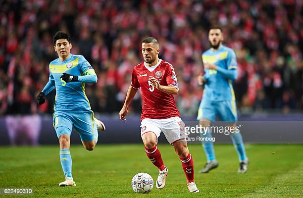 Riza Durmisi of Denmark controls the ball during the FIFA 2018 World Cup Qualifier match between Denmark and Kazakhstan at Telia Parken Stadium on...
