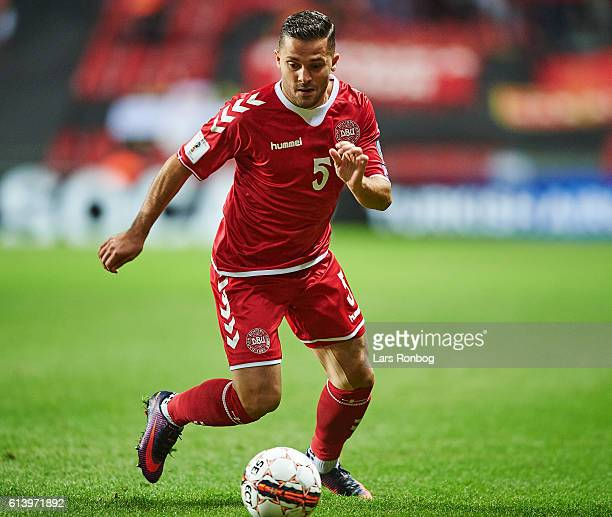 Riza Durmisi of Denmark controls the ball during the FIFA World Cup 2018 european qualifier match between Denmark and Montenegro at Telia Parken...