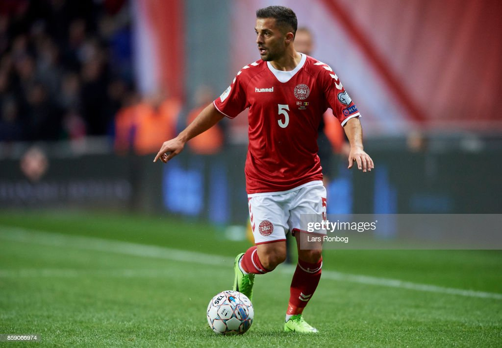Riza Durmisi of Denmark controls the ball during the FIFA World Cup 2018 qualifier match between Denmark and Romania at Telia Parken Stadium on October 8, 2017 in Copenhagen, Denmark.