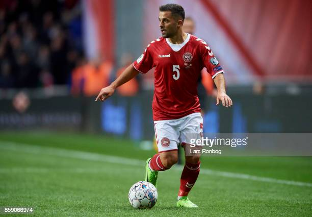 Riza Durmisi of Denmark controls the ball during the FIFA World Cup 2018 qualifier match between Denmark and Romania at Telia Parken Stadium on...