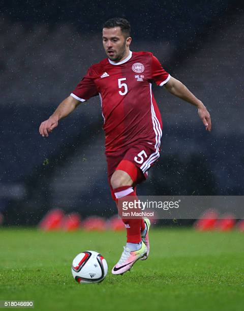 Riza Durmisi of Denmark controls the ball during the International Friendly match between Scotland and Denmark at Hampden Park on March 29 2016 in...
