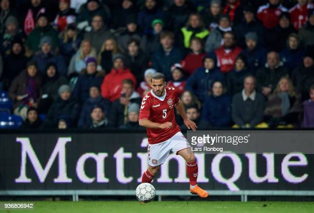 Riza Durmisi of Denmark controls the ball during the International friendly match between Denmark and Panama at Brondby Stadion on March 22 2018 in...