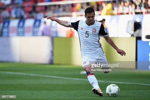 Riza Durmisi of Denmark takes a free kick during the international friendly match between Bosnia and Herzegovina and Denmark at the Toyota Stadium on...
