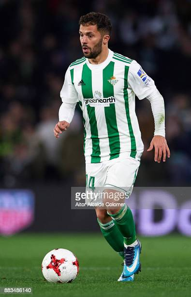 Riza Durmisi of Real Betis Balompie in action during the Copa del Rey Round of 32 Second Leg match between Real Betis Balompie and Cadiz CF at...