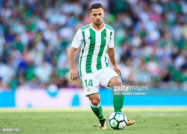 Riza Durmisi of Real Betis Balompie in action during the La Liga match between Real Betis and Deportivo La Coruna at Estadio Benito Villamarin on...