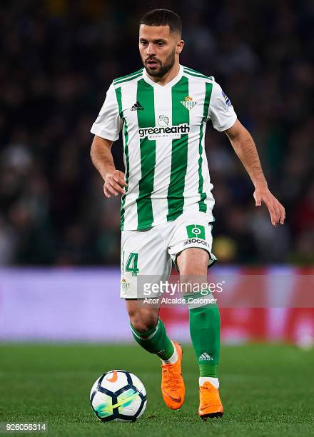 Riza Durmisi of Real Betis Balompie in action during the La Liga match between Real Betis and Real Sociedad at Estadio Benito Villamarin on March 1...