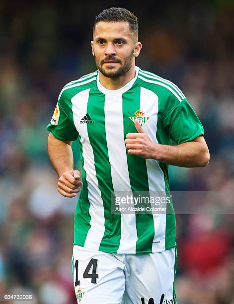 Riza Durmisi of Real Betis Balompie looks on during La Liga match between Real Betis Balompie and Valencia CF at Benito Villamarin Stadium on...