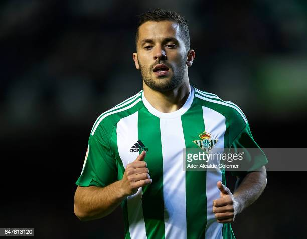 Riza Durmisi of Real Betis Balompie looks on during La Liga match between Real Betis Balompie and Real Sociedad de Futbol at Benito Villamarin...