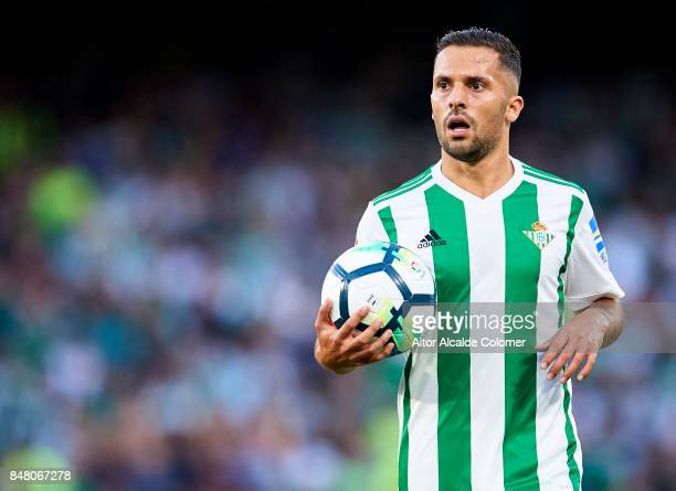 Riza Durmisi of Real Betis Balompie looks on during the La Liga match between Real Betis and Deportivo La Coruna at Estadio Benito Villamarin on...