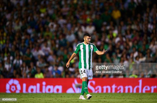 Riza Durmisi of Real Betis Balompie reacts during the match between Real Betis Balompie vs Granada CF as part of La Liga at Benito Villamarin stadium...
