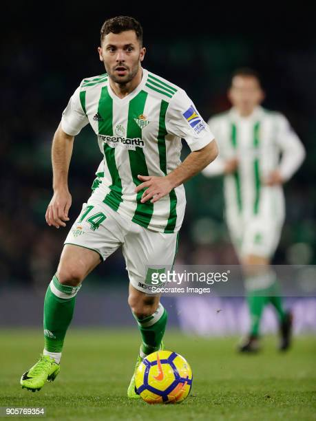 Riza Durmisi of Real Betis during the La Liga Santander match between Real Betis Sevilla v Leganes at the Estadio Benito Villamarin on January 15...