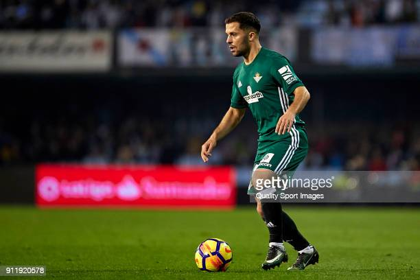 Riza Durmisi of Real Betis in action during the La Liga match between Celta de Vigo and Real Betis at Balaidos Stadium on January 29 2018 in Vigo...