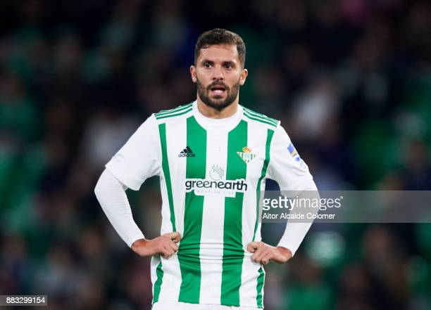 Riza Durmisi of Real Betis reacts during the Copa del Rey Round of 32 Second Leg match between Real Betis Balompie and Cadiz CF at Estadio Benito...