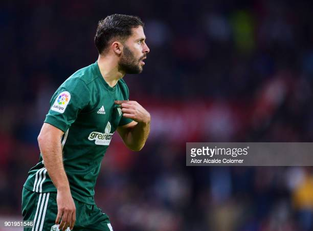 Riza Durmisi of Real Betis reacts during the La Liga match between Sevilla FC and Real Betis Balompie at Estadio Ramon Sanchez Pizjuan on January 6...