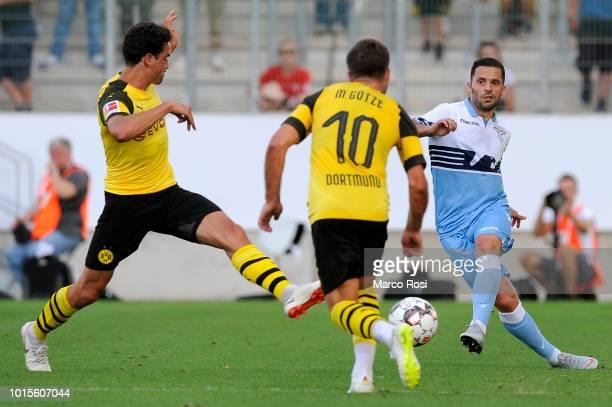 Riza Durmisi of SS Lazio in actin during the Borussia Dortmund v Lazio PreSeason Friendly at the Essen Stadium on August 12 2018 in Essen Germany