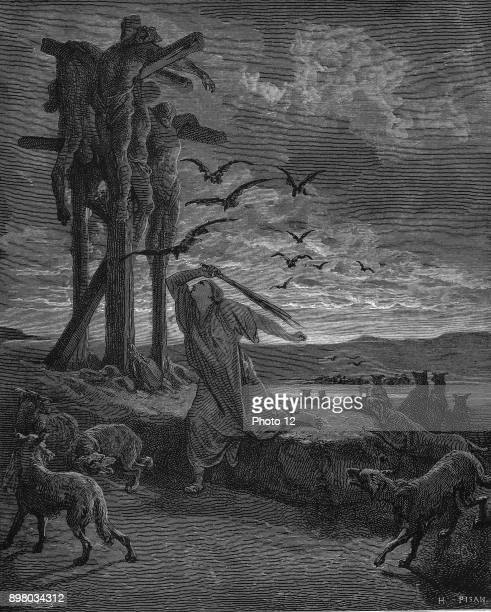 Rizpah king Saul's concubine stopping the birds and beasts devouring the bodies of her sons and five others killed by the Gibeonites as a harvest...
