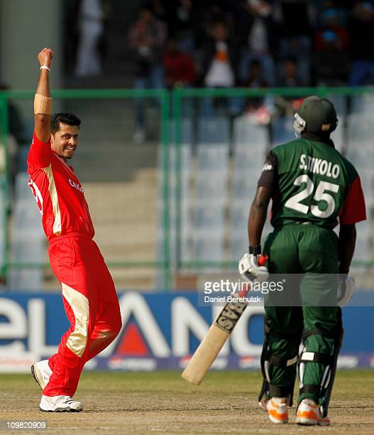 Rizwan Cheema of Canada celebrates after taking the wicket of Steve Tikolo of Kenya during the ICC Cricket World Cup group A match between Canada and...