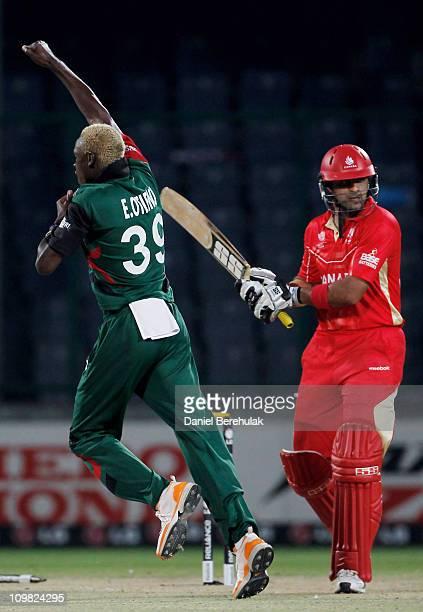 Rizwan Cheema of Canada of Kenya is bowled by Elijah Otieno of Kenya during the ICC Cricket World Cup group A match between Canada and Kenya at Feroz...