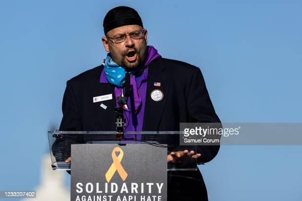 Rizwan Jaka, chairman of the All Dulles Area Muslim Society, speaks during a rally on the National Mall on May 31, 2021 in Washington, DC. Members...