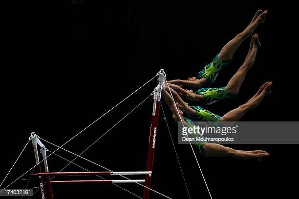 Rizzelli Martina of Italy competes on the Uneven Bars in the Girls Gymnastics during Day 5 of the European Youth Olympic Festival held at the De...
