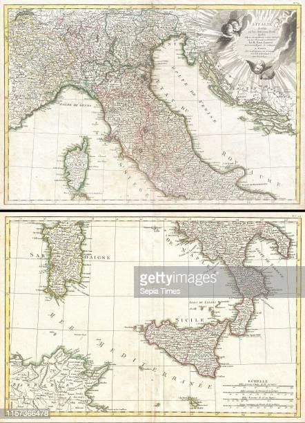 1770 Rizzi Zannoni Two Part Map of Italy